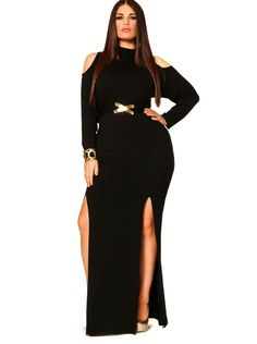 "I love the look of this dress. Its super edgy. I have nooo idea where I would wear this though. ""Eva"" Cold Shoulder Double Slit Dress With Detachable Belt - Black - Clothing - Monif C Plus Size Cocktail Dresses, Plus Size Dresses, Plus Size Outfits, Curvy Fashion, Plus Size Fashion, Girl Fashion, Fashion Photo, Fashion News, Womens Fashion"
