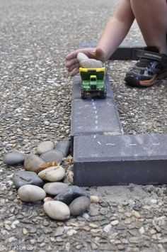 Imaginative Play - Paver Roads. They are so cheap and this is easy to set up #playmatters