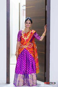 Orange with Violet Half saree Lehenga Crop Top, Half Saree Lehenga, Bridal Lehenga Choli, Sarees, Half Saree Designs, Lehenga Designs, Blouse Designs, Party Wear Dresses, Occasion Dresses