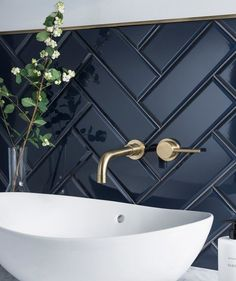 Dark herringbone bathroom tile with brass fittings and white sink. Modern bathroom with beautiful contrasts in colors and textures. - home decorations - Dark herringbone bathroom tile with brass fittings and white sink. Modern bathroom with beautiful c - Bathroom Inspo, Bathroom Inspiration, Bathroom Ideas, Bathroom Black, Bathroom Organization, Shower Bathroom, Blue Bathroom Tiles, Bathroom Vanities, Bath Ideas