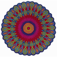 L.R. Resources Vibrance Peacock Rug - 5' Round