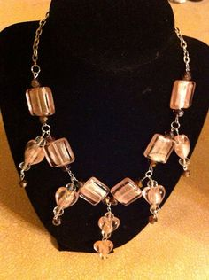 Pink crystal beads with silver chain necklace  on Etsy, $22.00