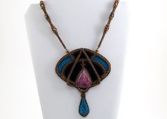 Art Nouveau Pendant ON SALE at www.madineurope.eu - #artnouveau #pendant #pink #eudyalith #blue #handmade #necklace #embroidery #fashion #accessories #unique #shopping #shoppingonline