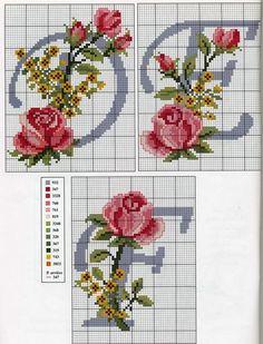 Alphabet roses et fleurs jaunes (2)