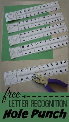 Morning Work FREE Alphabet Hole Punching is a super cute letter recognition activity for preschool, prek, kindergarten, and first grade students. They are going to love this hands on educational activity. Preschool Letters, Learning Letters, Kindergarten Literacy, Preschool Learning, Letter Recognition Kindergarten, Alphabet Games For Kindergarten, Letter Recognition Games, Alphabet Activities, Educational Activities