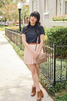Peter pan collar polka dot blouse with blush pleated skirt and brown booties by Curious Natalia.  Forever 21, vintage, American Apparel.