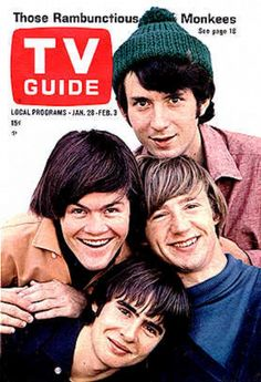 Michael Nesmith, top, Micky Dolenz, left, Peter Tork, right, and Davy Jones in 1966 TV Guide cover.