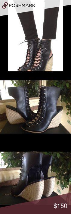 Rebecca Minkoff wedges Rebecca Minkoff Black Leather lace up wedge sandal/booties.  Brand new w/box.  No trades. Rebecca Minkoff Shoes Wedges