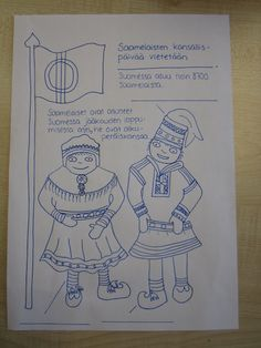 same people coloring Finnish Language, Lappland, Celebration Around The World, Language School, Pre School, Ancient History, Geography, Art Dolls, Folk Art