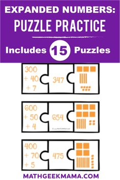 Help your kids learn place value with these 15 different expanded numbers puzzles! Make one copy and laminate to use year after year! Easy Math Games, Math Card Games, Free Printable Math Worksheets, Fun Math Activities, Educational Activities For Kids, Kindergarten Math Worksheets, Math Resources, Free Printables, Teaching Tips