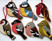 Cute felt bird ornaments! I could make one for my Daddy! One of his hobbies is raising birds! :)