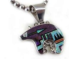 Sterling Silver Native American Bear Pendant and Chain