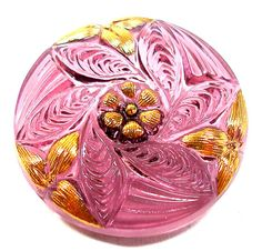 Purple glass BUTTON Flower with gold accents by OldeTymeNotions