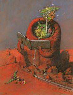 Shaun Tan - Desert storyteller, pastel A2
