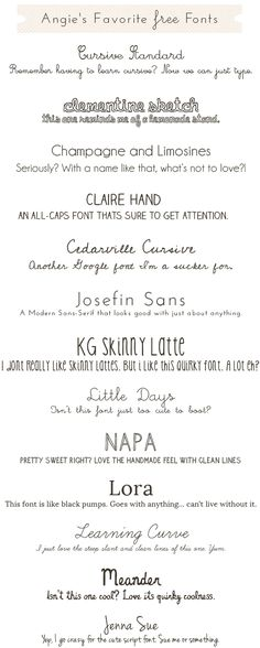 Cute Free Fonts  || angie makes  ~~ {24 Free & 2 Pay fonts w/ easy download links -- Cedarville Cursive doesn't have a link but can be found at dafont.com}