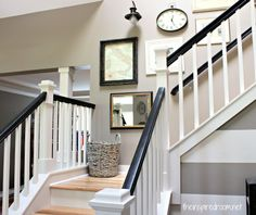 ( I Love The Idea Of Painting The Railings. ) Staircase Makeover Black And White  Railings Hickory Treads White Risers