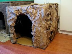 """Create a """"cave"""" out of large packing box and brown paper bags the kids bring in. The process of making it is at least as much fun as using it. And extensions can be non-fiction boks about caves, how they are formed, ones in your area and maybe a field trip to a cave. weekly-summer-activity-series-for-june-3rd-7th-dinosaur-discoverer-make-a-cave/, instructions: http://7kidsonadime.wordpress.com/2013/05/29/"""
