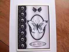 Butterflies Mono on Craftsuprint designed by Gail Collins - made by   - i used one of the images i bought from CUP and added one of my mono butterflies.i addes some black and white spotted buttons.on a A5 size card. - Now available for download!