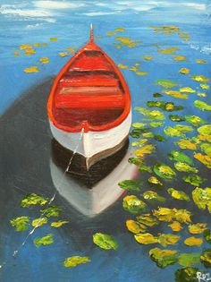 Boat+painting+39+18x24+inch+original+landscape+by+RozArt+on+Etsy,+$225.00