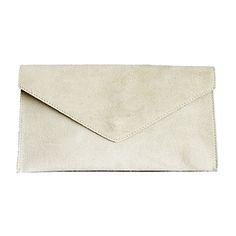 Lucia Italian Cream Leather Envelope Clutch Bag - £24.99