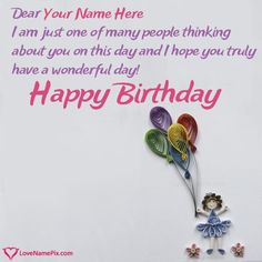 Birthday Card Messages For Girl With Name Photo