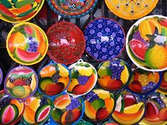 Colorful, fun Mexican pottery dishes--with these gorgeous dishes, who needs the food?