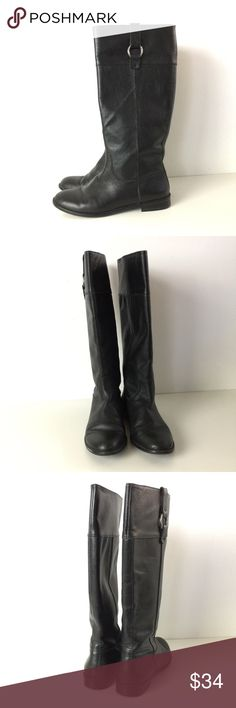 "Banana Republic Pebbled Black Leather Riding Boots Great pair of Banana Republic riding boots. Pebbled black leather with silver metal ring. Pull on style. Very good condition - a few scuffs and marks. Size 7 1/2. 15 1/2"" tall. 1"" heel. Outsole measures 10 1/2"" toe to heel. Banana Republic Shoes Heeled Boots"