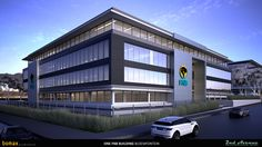 First National Bank Head Offices, Perspective Rendering, Bloemfontein, Free State, Bomax Architects