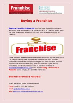 #BuyingAFranchise is a good way to start your first small business, although it all depends on the franchise. For more detail call us now at (03) 9787 8077.