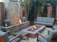Backyard Fire Feature Tropical Landscaping JDS Landscape Design Hermosa Beach, CA