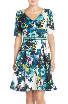 Chetta B Flower Print Fit & Flare Dress available at #Nordstrom