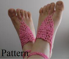 Crochet barefoot sandals PATTERN  Beach wedding by LOVEKNITCROCHET