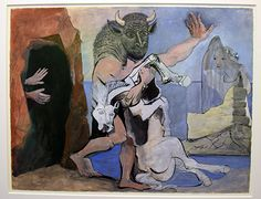 """expressionism-art: """" Minotaur with dead horse in front of a cave facing a girl in veil by Pablo Picasso Size: cm Medium: gouache, indian ink on paper"""" Picasso Sketches, Pablo Picasso Drawings, Art Picasso, Picasso Prints, Guernica, Gouache, Dora Maar, Art Database, All Art"""