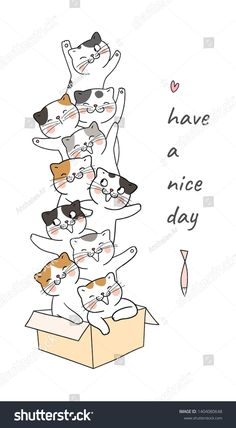 Draw vector cute cat in brown box so funny and word have a nice day.Isolated on white. Cute Cat Drawing, Doodle Art Drawing, Cute Drawings, Cat Doodle, Doodle Cartoon, Cute Cartoon Wallpapers, Cute Illustration, Cartoon Styles, Cat Art