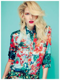 Feathered Hair  + Bold Lips give florals an edge