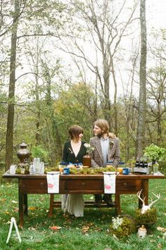 Nashville, Tennessee outdoor rustic wedding table setting