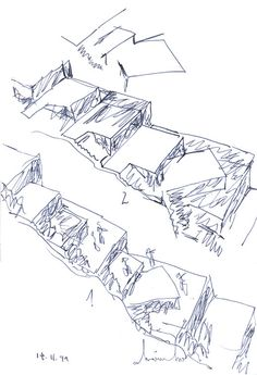 Gallery of Flashback: Tolo House / Álvaro Siza Vieira - 54 Architecture Concept Drawings, Landscape Architecture, Architecture Design, Conceptual Sketches, House Sketch, Concept Diagram, House On A Hill, Parcs, Landscape Drawings