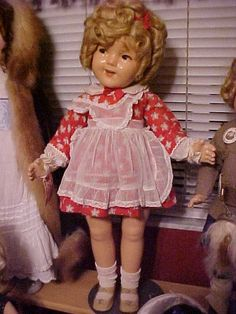 """25"""" Compo Shirley Temple doll in RARE Littlest Rebel Red Dress 1935"""