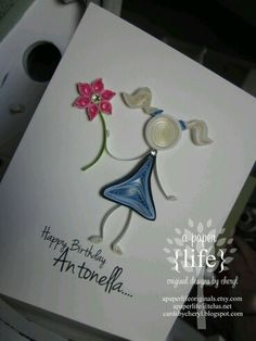 ~ a paper {life}: ~ quilled birthday girl Paper Quilling Tutorial, Paper Quilling Patterns, Quilled Paper Art, Quilling Paper Craft, Quilling Ideas, Quilling Designs, Paper Crafts, Birthday Cards For Mom, Handmade Birthday Cards