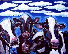 Cows Painting - Vegetarian Cows by Renie Britenbucher Wall Canvas, Canvas Art, Cow Painting, Collage, Whimsical Art, Art Lessons, Folk Art, Fine Art America, Illustration Art