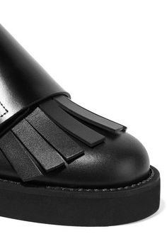 Marni - Fringed Two-tone Leather Brogues - Black - IT38.5