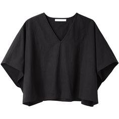 Apiece Apart Anja Kaftan Top (1.855.355 IDR) ❤ liked on Polyvore featuring tops, t-shirts, shirts, crop top, boxy t shirt, cotton t shirts, short sleeve t shirt and relax t shirt