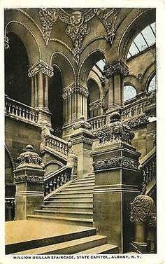 Albany New York NY 1914 Million Dollar Interior Staircase Vintage Postcard