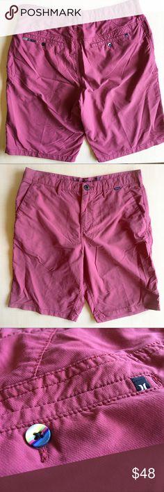 "Hurley + Nike Dri-Fit Chino Shorts Hurley Chino Shorts  Side pockets  Zipper Fly  Waist: 32""  Material: Nike Dri-Fit  •Inseam: 31"" • Length: 19"" -P- Hurley Shorts"