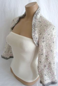 DISCOUNTED  Hand knitted crocheted White Gray Pink long