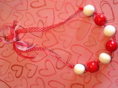 Valentine Gumball Candy Necklace by Kalea. Available at MeMe's Designs in Coweta,OK Candy Necklaces, Gumball, Valentines Day, Pearl Necklace, Pearls, Love, Jewelry, Design, Valentine's Day Diy