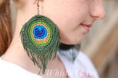 DIY Crochet Peacock Feather Earrings Pattern from Whistle &...