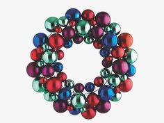 ANNGARSK Multi-coloured bauble wreath