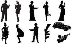 Roaring 20s Gangster Clip Art | Roaring 20s Silhouettes