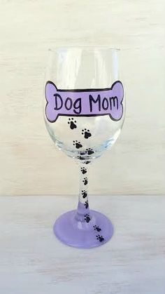 Dog Mom hand-painted wine glass by CrystalsGlassDesigns on Etsy